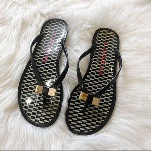 Coach Landon Black Jelly Flip Flop Sandals Size 6